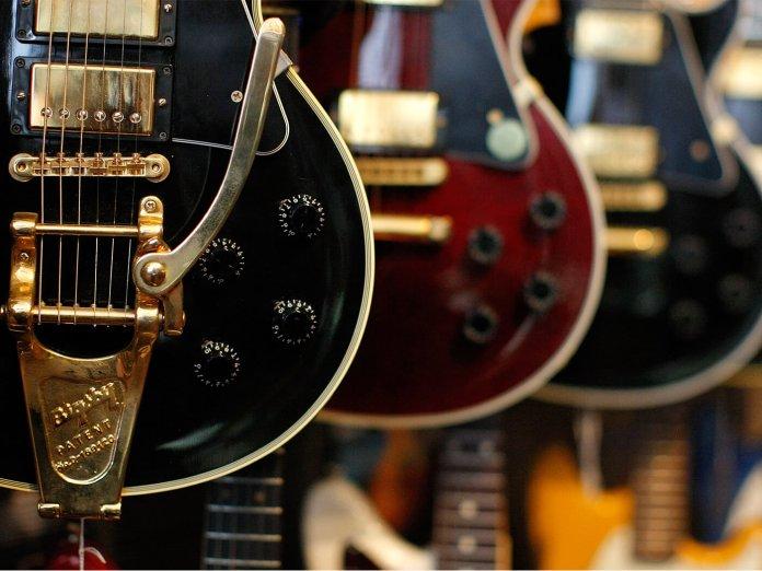 A guitar store.