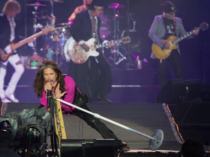 Aerosmith performing at Download 2017