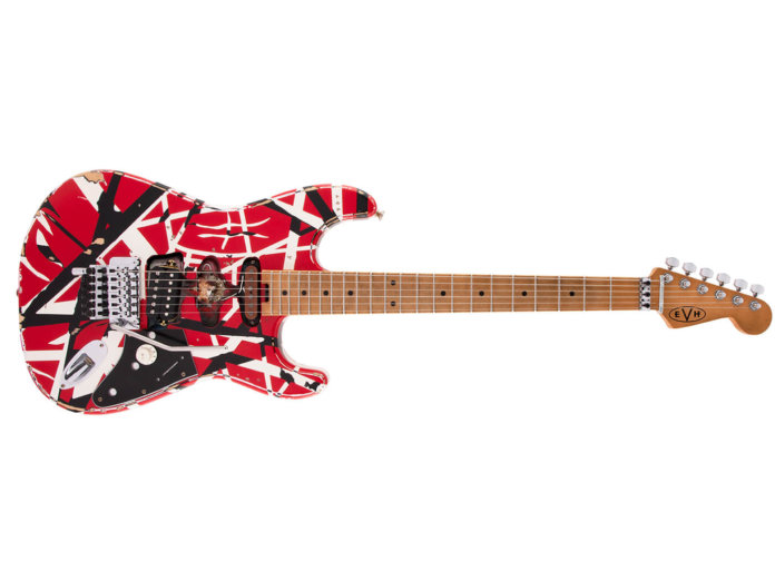 EVH Striped Series Frankie Red w BW Stripes Relic