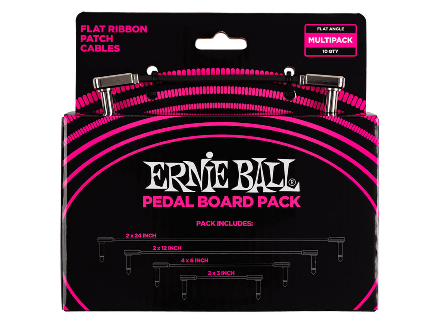 Ernie Ball Flat Ribbon Patch Cables Pedalboard Pack Multipack