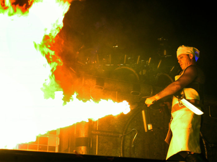 Rammstein's Till Lindemann performing on stage.