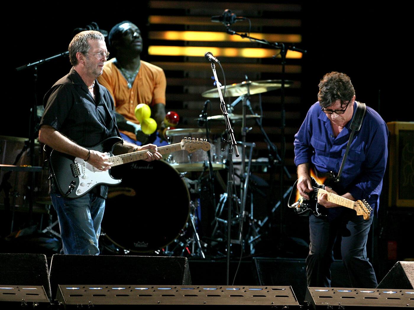 Robbie Robertson with Eric Clapton and Steve Jordan