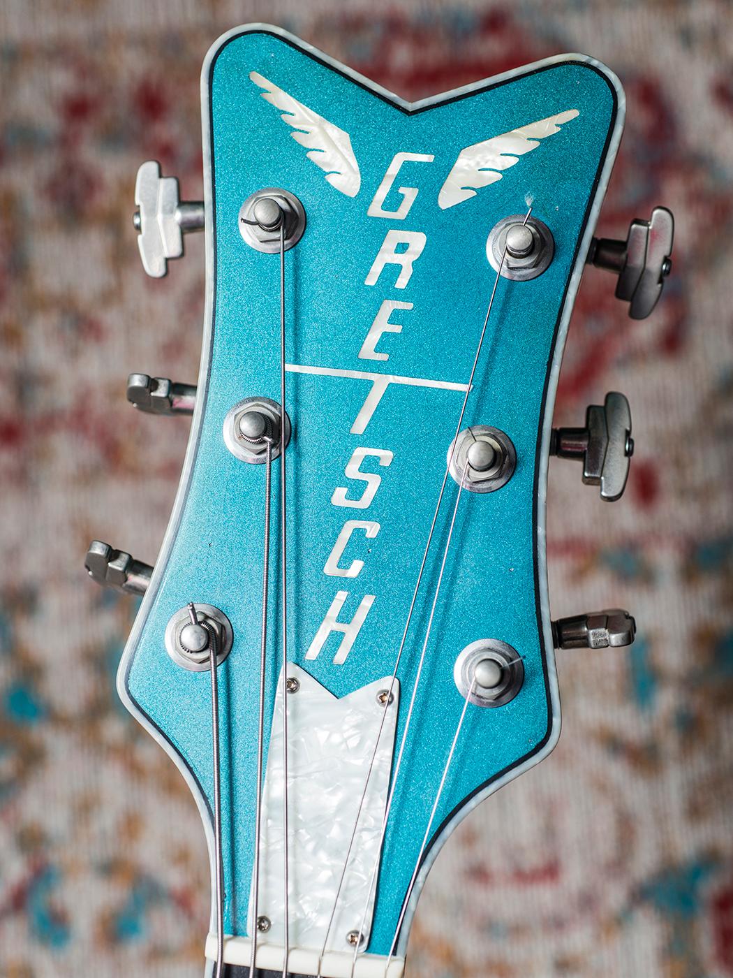 Scott Holiday's Gretsch Custom Shop Stephen Stern Masterbuilt Blue Penguin (Headstock)