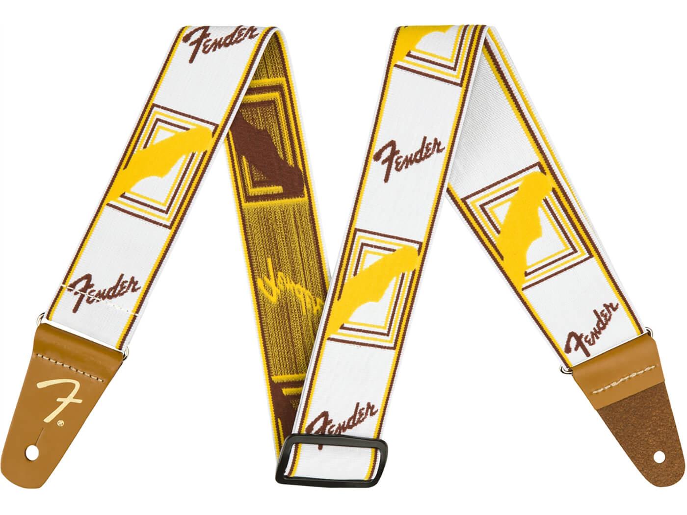 Fender Weighless Monogram Strap (White/Brown/Yellow)