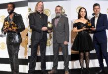 L-R: Gary Clark Jr., Danny Carey & Justin Chancellor of Tool and Rodrigo Y Gabriela tout their Grammys.