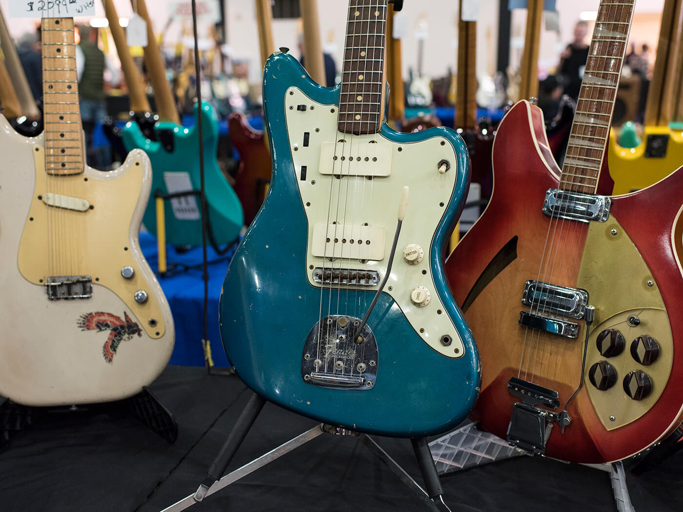 61 Jazzmaster in Lake Placid Blue with a wavy Brazilian fretboard and a patent number vibrato