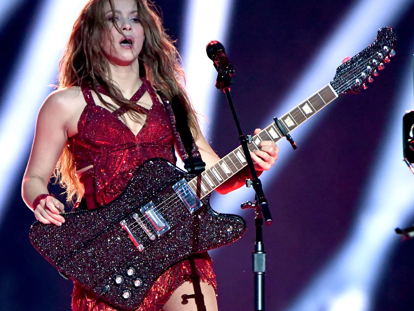 Shakira and the crystal-encrusted Gibson Firebird.