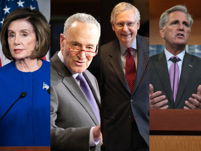 The letter's addressees. L-R: Speaker of the House Nancy Pelosi, Senate Democratic leader Chuck Schumer, Senate Majority Leader Mitch McConnell and House Minority Leader Kevin McCarthy.