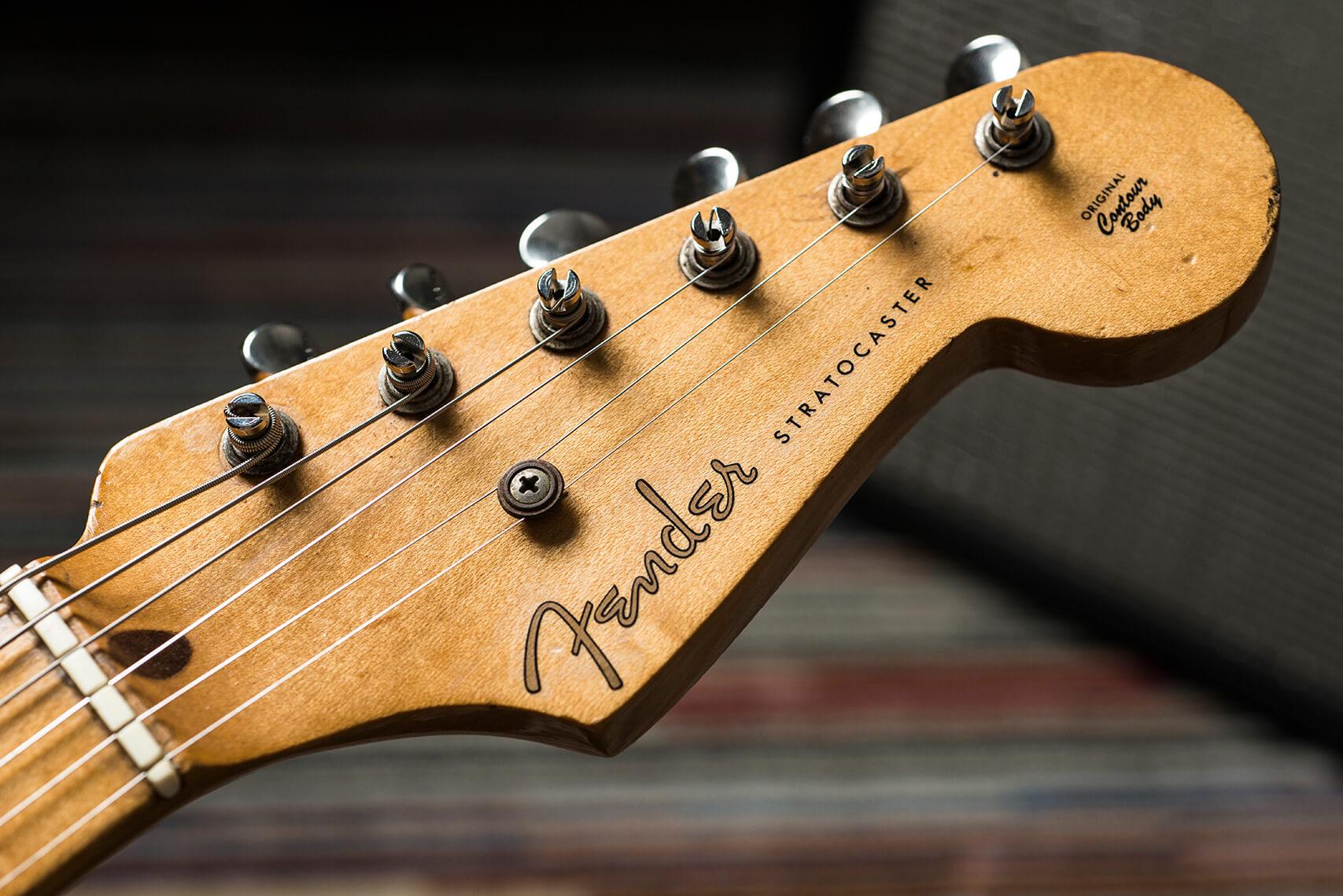 Jeff Garlin's 1955 Hardtail Sunburst Stratocaster Headstock