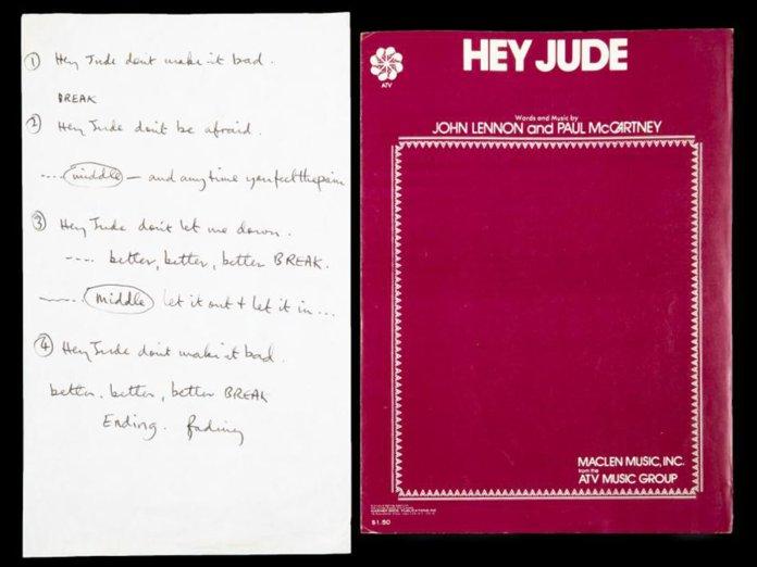 Hey Jude lyrics sheet from Julien's Auctions