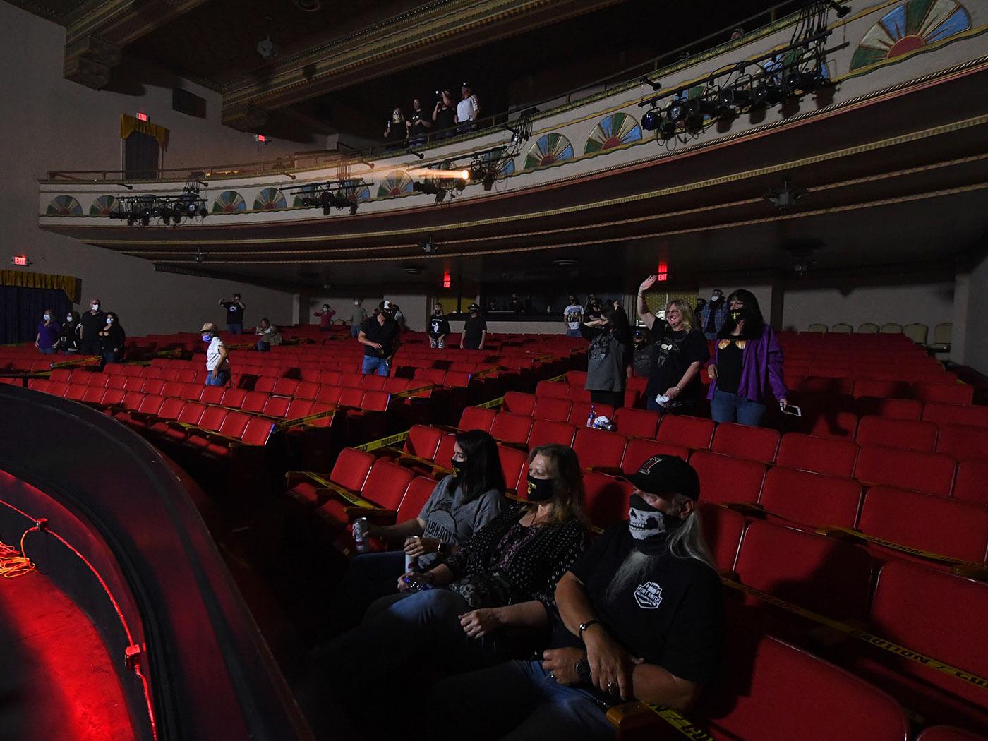 Audience members sat apart in the auditorium