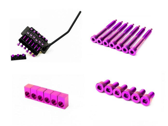 FU Tone's purple titanium tremolo inserts