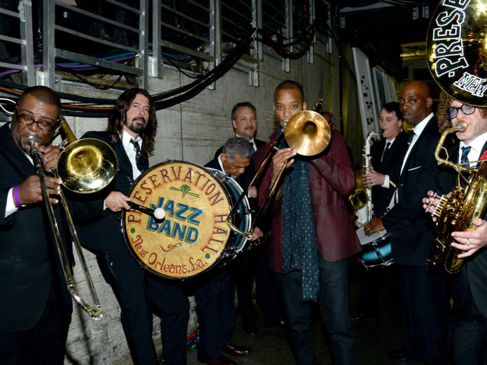 Dave Grohl with the Preservation Jazz Band