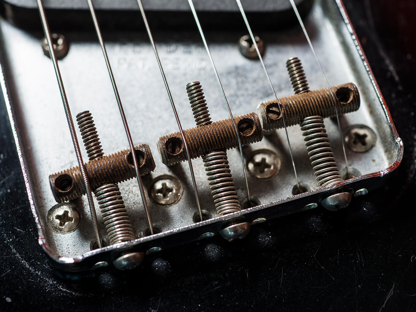 Brian Ray's factory black 1963 Custom Telecaster Bridge