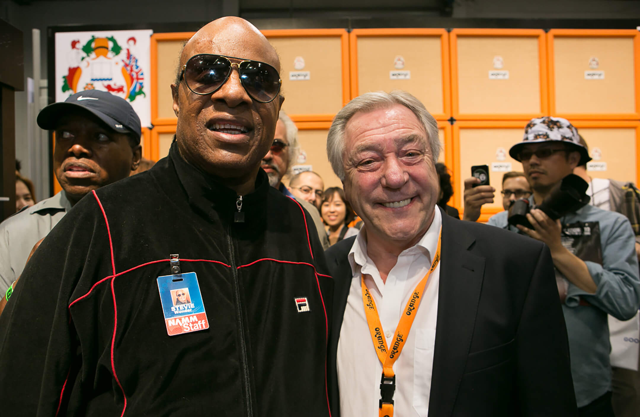 Cliff with Stevie Wonder at NAMM 2014
