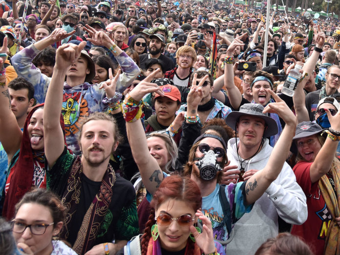 A crowd at a festival