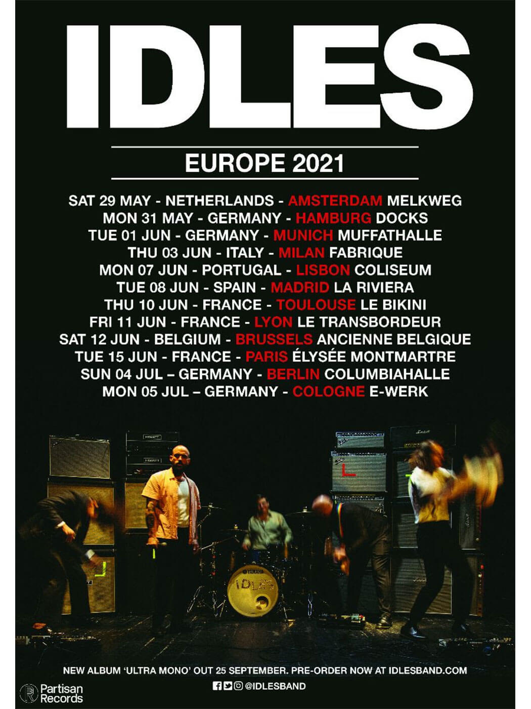 IDLES 2021 EU tour