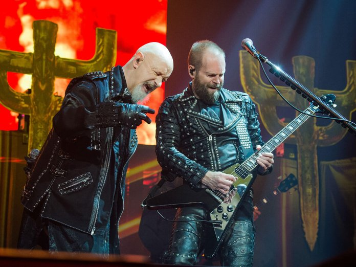 Rob Halford on stage with Judas Priest