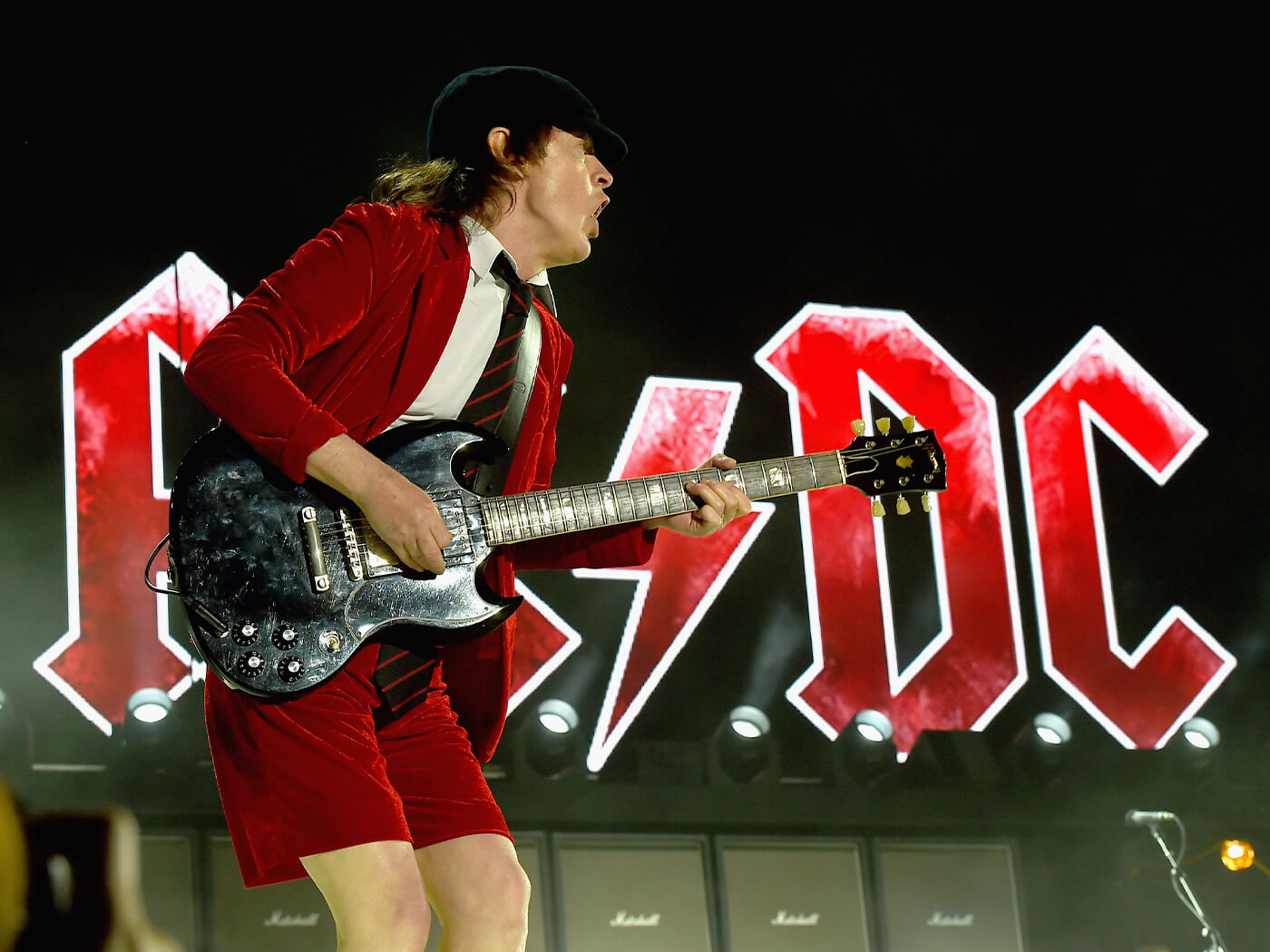 Angus Young onstage with AC/DC