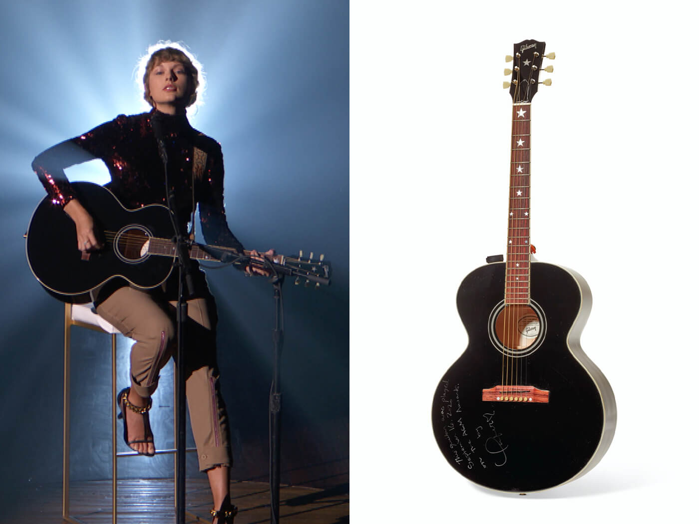 Taylor Swift S Gibson J 180 Acoustic Keith Urban S Hi9 Electric Will Be Auctioned For Covid 19 Relief Guitar Com All Things Guitar