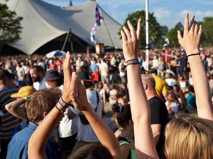 Concert goers in summer