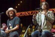 Eddie Vedder and Chris Cornell onstage