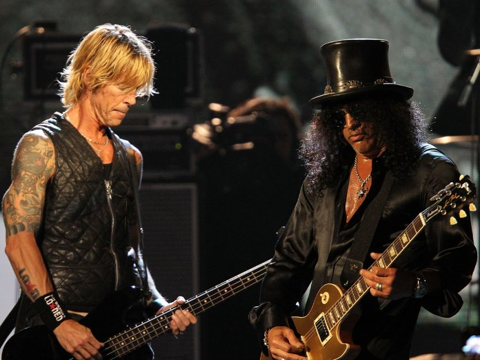 Slash and Duff McKagan onstage