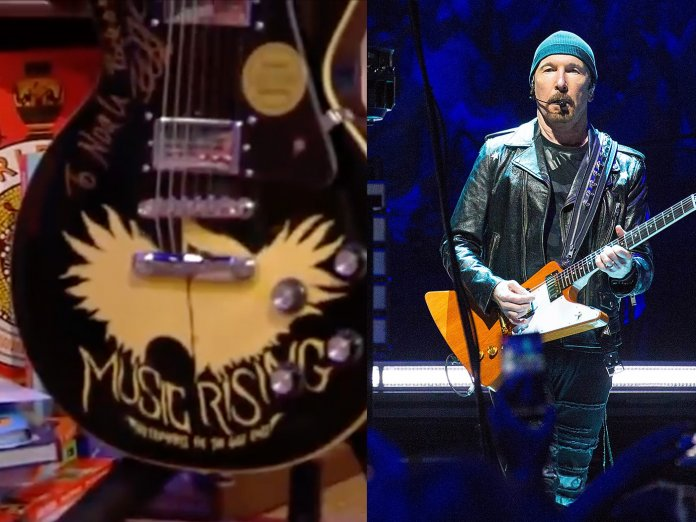 The Edge and the guitar he gifted Noah Rafferty