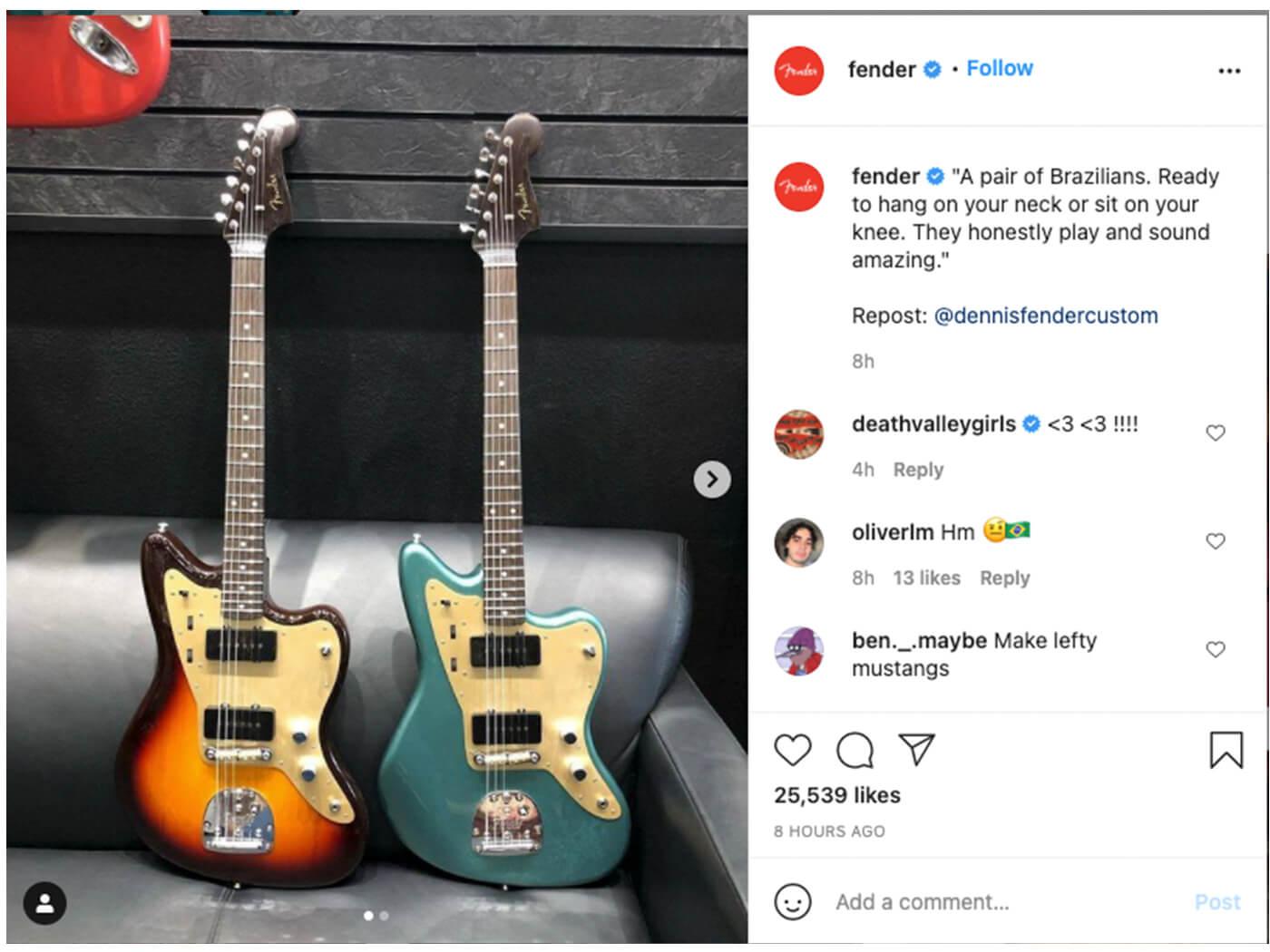 Fender removed IG post