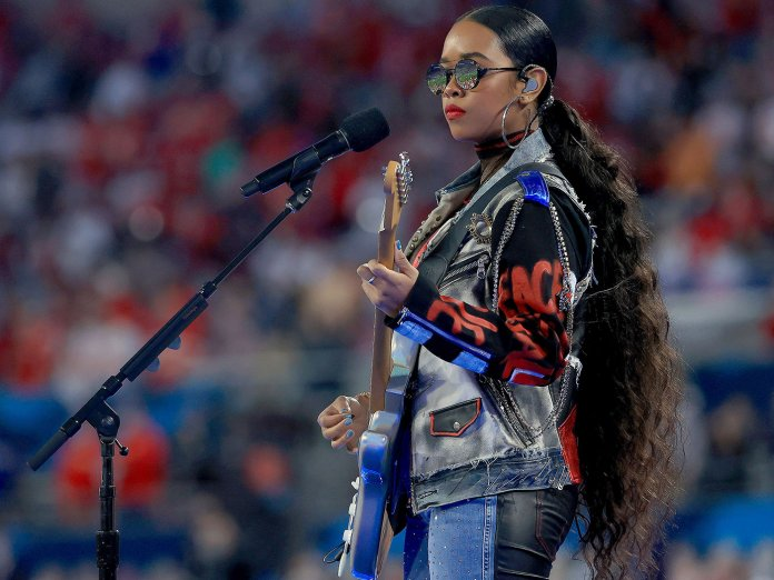 H.E.R. performing at the Super Bowl LV
