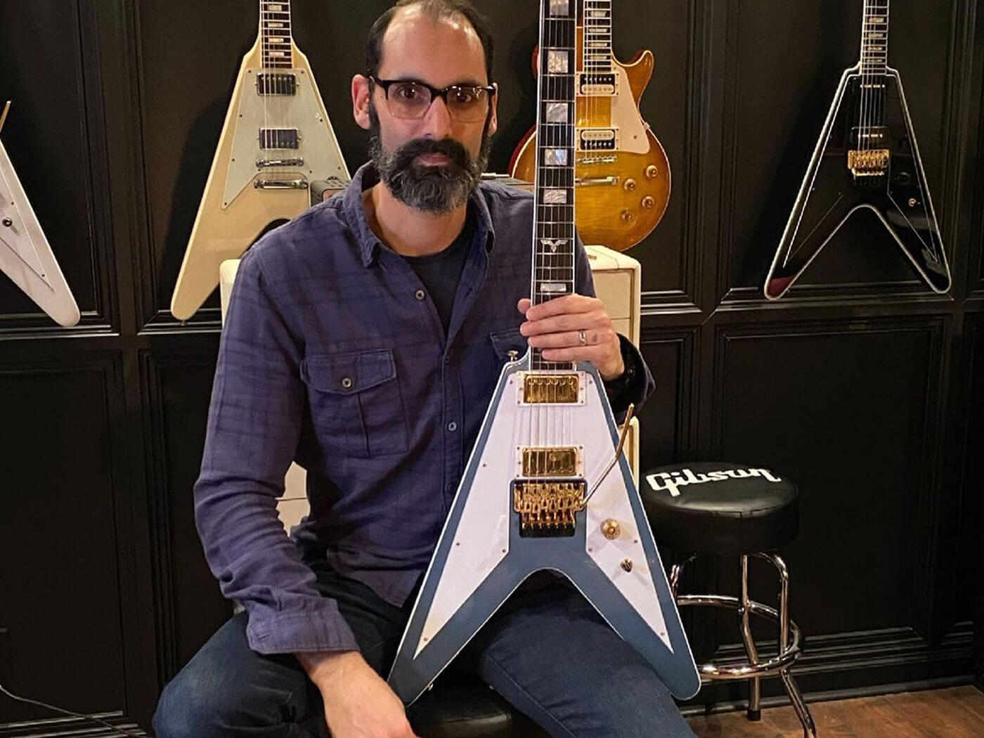 Cesar Gueikian with the Richie Faulkner prototype Gibson Spec