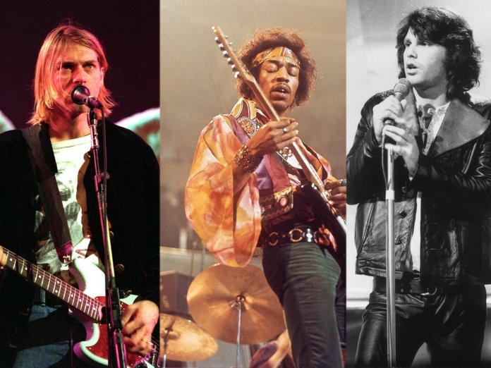 Kurt Cobain, Jimi Hendrix and Jim Morrison