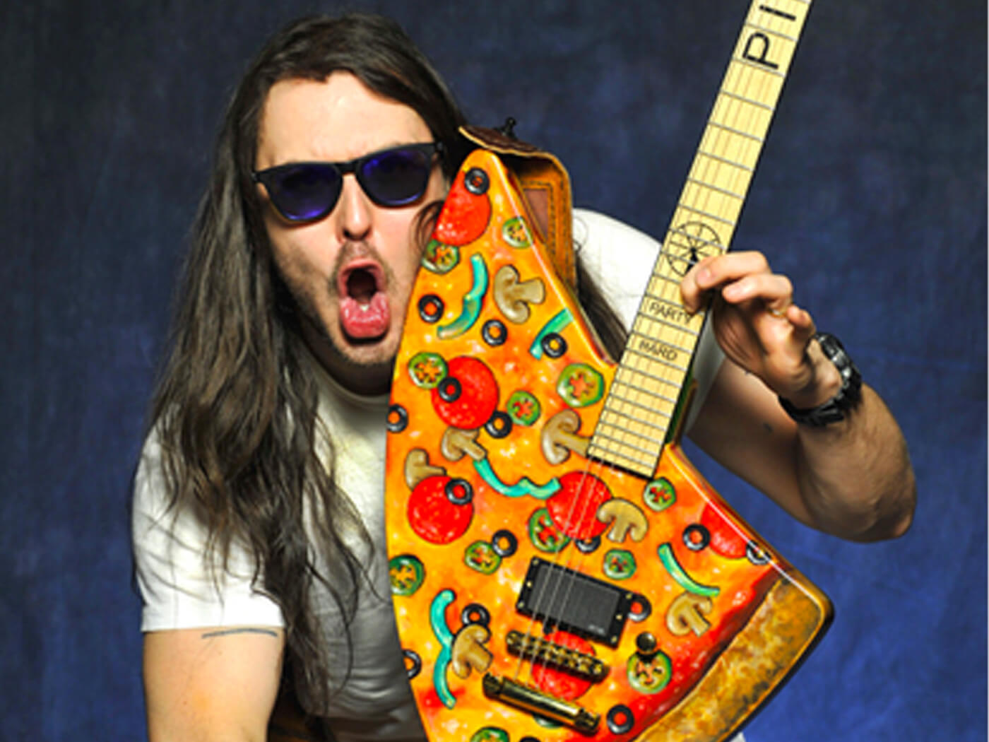 Andrew WK with his ESP Pizza Guitar