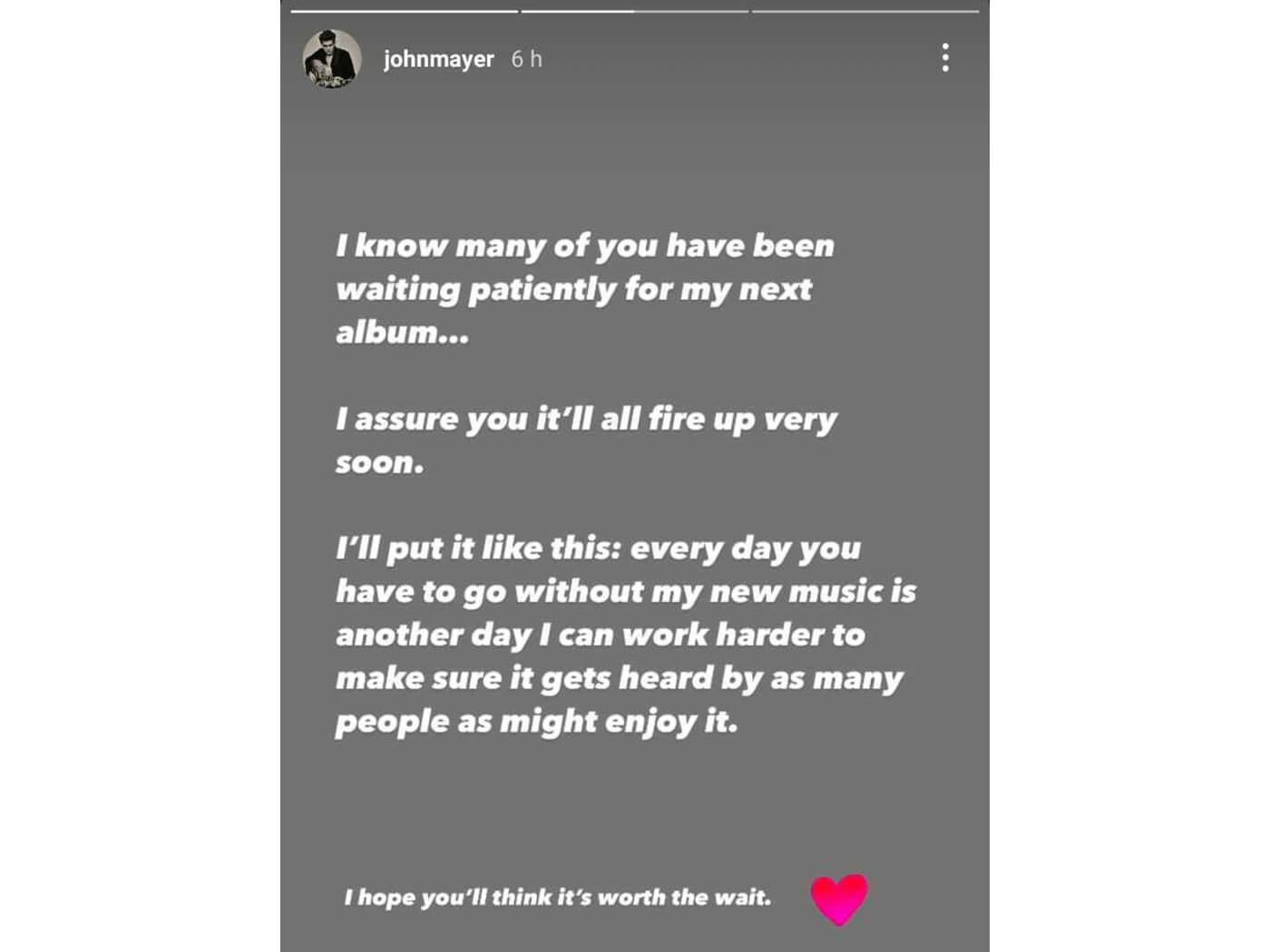 John Mayer album statement IG Story