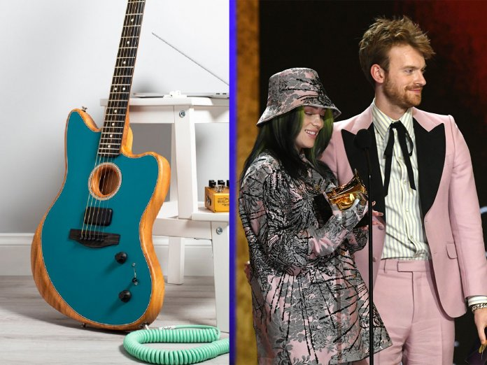 The Acoustasonic Jazzmaster (L), and Finneas and his sister Billie Eilish.