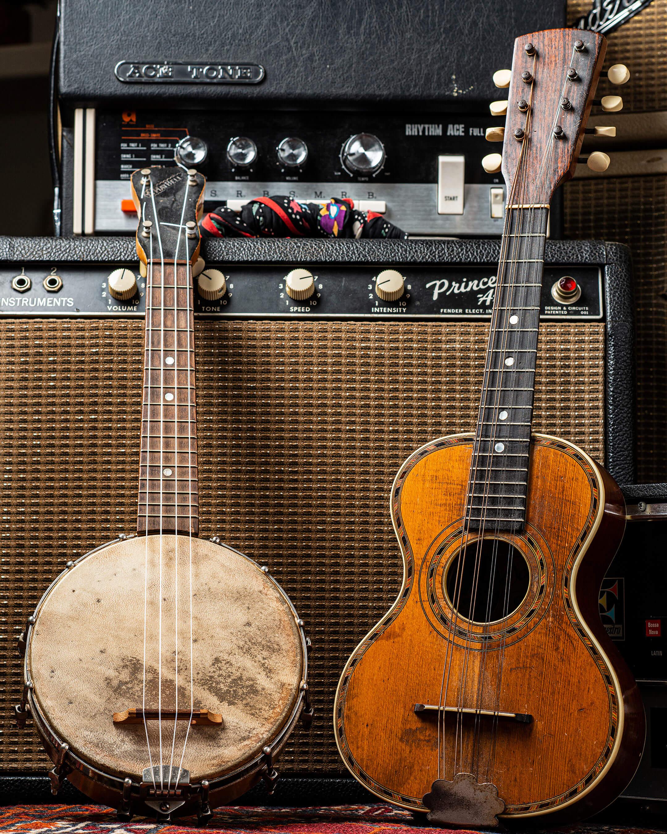 Maybell Banjolele and Oscar Schmidt flat-top mandolinetto