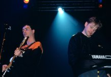 Johnny Marr and Bernard Sumner performing as part of Electronic.
